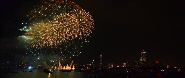 4th of July celebrations in Boston, taken from the Cambridge side, in front of MIT