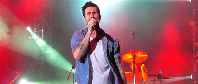 Adam Levine, lead singer of Maroon 5, during a concert in Hong Kong, 5/21/2011.