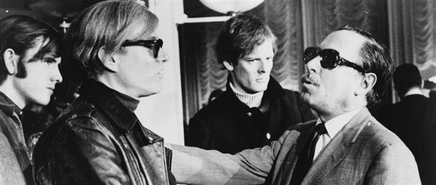 Andy Warhol (left) and Tennessee Williams (right) talking on the FranceSS