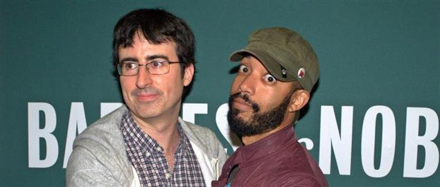 John Oliver and Wyatt Cenac at the launch of Earth (The Book)