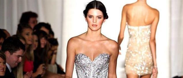 Kendall Jenner walking in her first runway show at New York Fashion Week, September 2011.