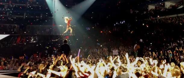 Taylor Swift performing during her Red Tour in London