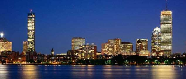 Boston skyline at night.