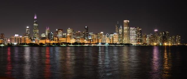 Chicago skyline, from the Adler Planetarium.