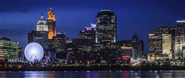 Cincinnati skyline during blue hour.