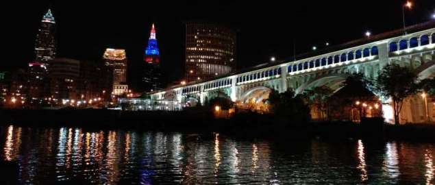 Terminal Tower and other Cleveland landmarks, as seen from across the Cuyahoga River.