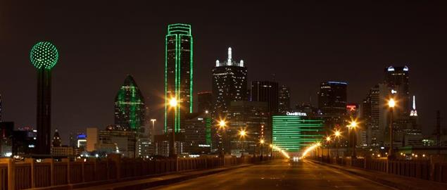 Downtown Dallas, Texas, with all the buildings lit up. Reunion Tower to the left.