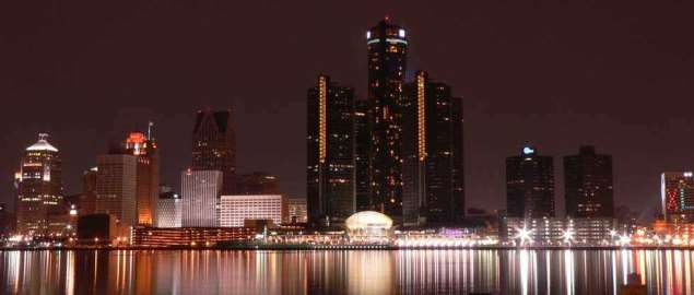 Downtown Detroit skyline at night.