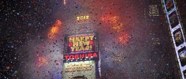New Year's Eve as the confetti falls in Times Square, 2012.