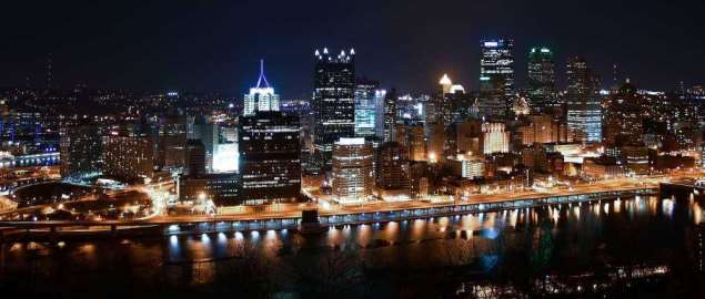 The night view of Pittsburgh skyline from Mount Washington.