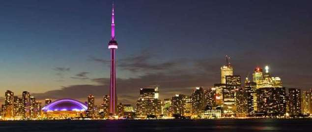 Toronto skyline after sunset.