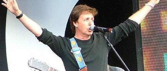 Paul McCartney performing with Bono at the Epiphone Casino in 2008.