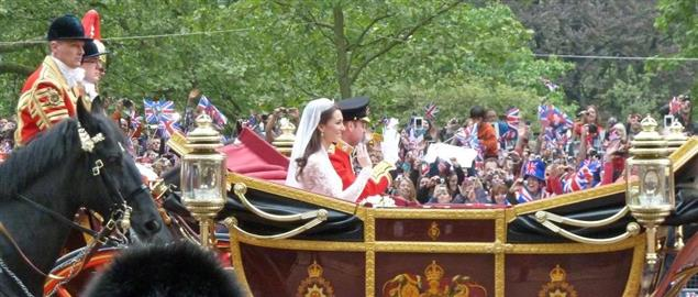A carriage ride at the wedding of Prince William of Wales and Kate Middleton