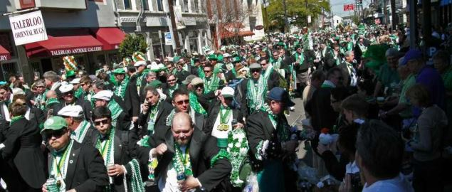 Saint Patrick's Day parade on lower Magazine Street, New Orleans.