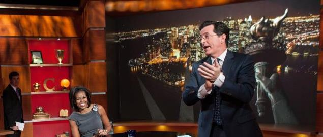 First Lady Michelle Obama participates in an interview with Stephen Colbert